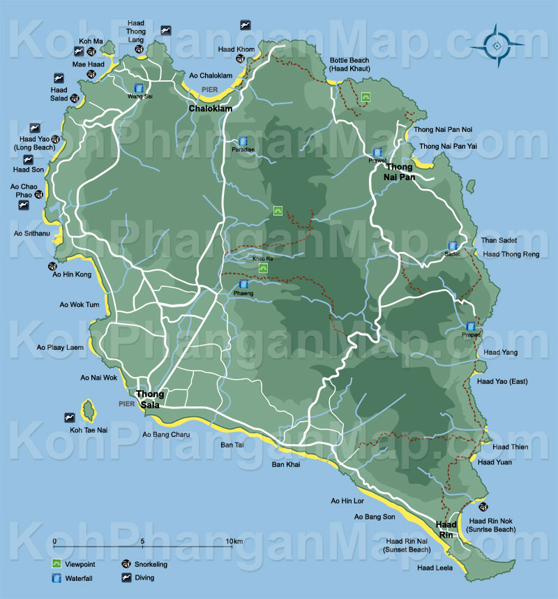 Koh Phangan Map Click To Explore This Thailand Island