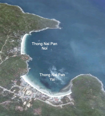 Birds eye view of Thong Nai Pan beach