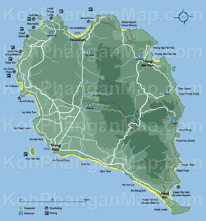koh phangan hotel map