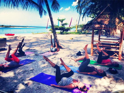 Pilates on the beach at Sri Thanu